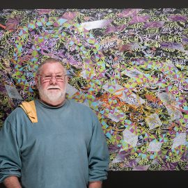 Tom Debruin with his latest painting at our studio in Biddefor Maine, by Portland Headshot