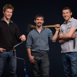 Tyler, Casey, and Rion from AcuEdge Sharpening Services at the studio with Portland Headshot