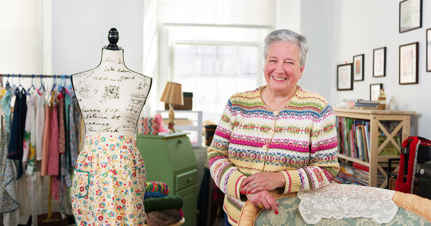 Roberta Ransley-Matteau, owner of Retro Girls Attic and Lily-Jane Knits, in her studio at the Pepperell Mill Campus. Photographed by Portland Headshot